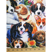 Animals Wonderland Garden Puppies Dogs Digitally Printed David Textiles #5714 - Quilting & Sewing Fabric