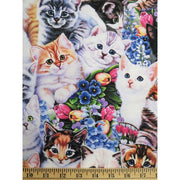 Animals Wonderland Kittens & Flowers Cats Digitally Printed David Textiles #5715 - Quilting & Sewing Fabric