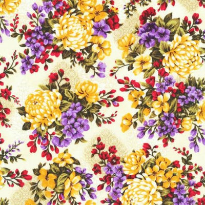 Asian Garden Spaced Floral Fabri-Quilt Fabric #4910 - Quilting & Sewing Fabric