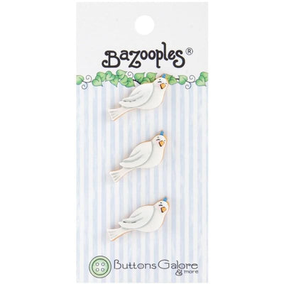 Bazooples Novelty 3D Doves 3CT Plastic Embellishment Buttons #4113 - Sewing Notions