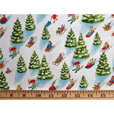 Best Tree on the Lot Christmas Trees White Northcott Studios #7139 - Quilting & Sewing Fabric