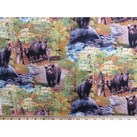Black Bear Wildlife Trees Rocks and River Scenic Elizabeths Studio #7216 - Quilting & Sewing Fabric