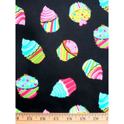 Black Cupcakes Sweet Food Sugar Timeless Treasures #852 - Quilting & Sewing Fabric