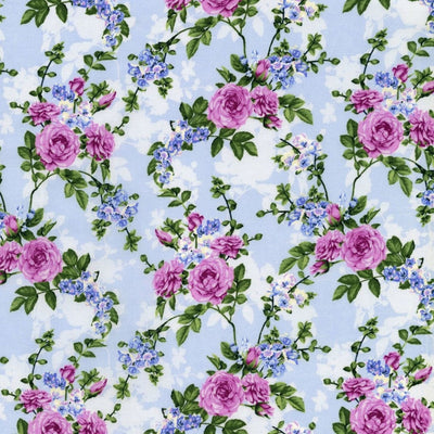 Blue Hydrangea Melrose Beverly Park Floral RJR Fabrics #7186 - Quilting & Sewing Fabric