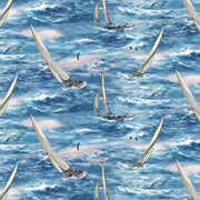 Boat Sailing All Over Ocean Nautical Scenic Wilmington Prints #2904 - Quilting & Sewing Fabric