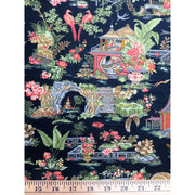 Botanica lll Scarlet Pagoda & Floral Asian Black Henry Glass Co. #7181 - Quilting & Sewing Fabric