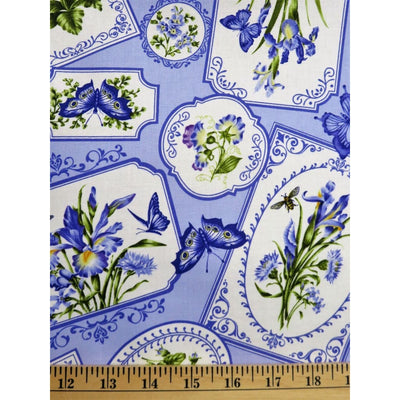 Botanical Blue Pansy Floral Butterflies & Bees Northcott Studio #3622 - Quilting & Sewing Fabric