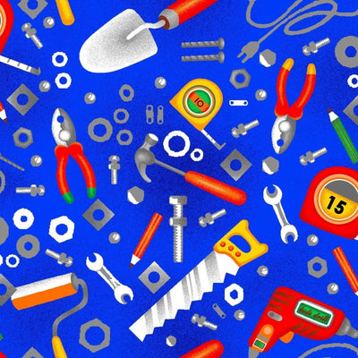 Building 101 Tools Blue Construction Tool Toss Fabri-Quilt #6991 - Quilting & Sewing Fabric