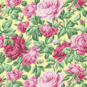 Butter Rose Garden Yellow & Pink Roses Rowan Floral #3708 - Quilting & Sewing Fabric