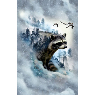 Call of the Wild Ice Racoon 25 Digitally Printed & Nature Scenic Hoffman #7786 - Quilting & Sewing Fabric