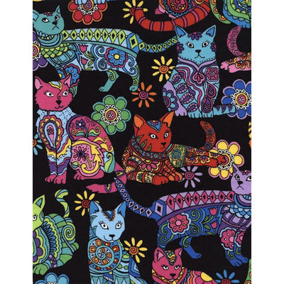 Cat Coloring Black Cats Cotton Timeless Treasures Fabric #7490 - Quilting & Sewing Fabric
