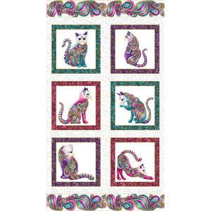 Cat-I-Tude White 23 Panel Cats w/ Metallic Ann Lauer 4200M-09 Benartex #7645 - Quilting & Sewing Fabric