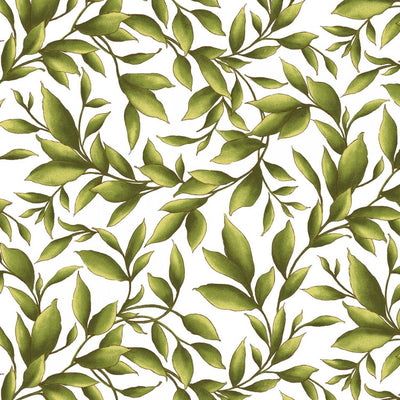 Catalina White Leaves Nature Outdoors Maywood Studio #5161 - Quilting & Sewing Fabric