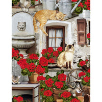 Cats And Geraniums Kittens on the Porch Timeless Treasures #7489 - Quilting & Sewing Fabric
