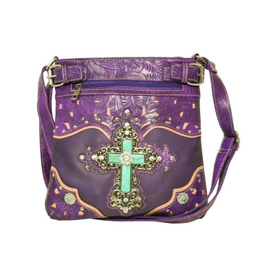 Christian Conceal Carry Small Fashion Purse With Cross and Rhinestones Shoulder Straps - Purses
