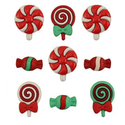Christmas Candy Holiday Lolipop Plastic Shank Buttons Galore #4489 - Sewing Notions