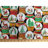 Christmas Snow Globes w/ Glitter Timeless Treasures Fabric #5792 - Quilting & Sewing Fabric