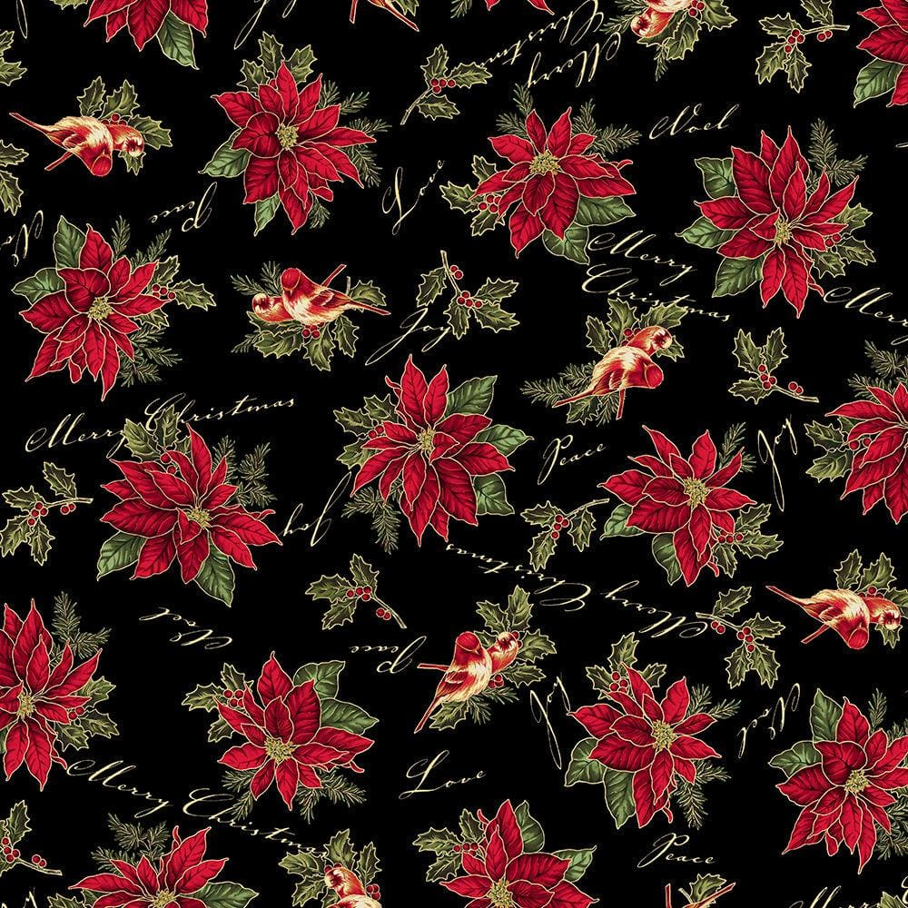 Christmas Traditions Poinsettias & Birds w/ Metallic Black Maywood Studio #3387 - Quilting & Sewing Fabric
