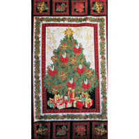 Christmas Tree Holiday Panel 23x44 w/ Metallic #2552 - Quilting & Sewing Fabric