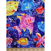 Coral Sea Colorful Tossed Fish Sea Life Paintbrush Studio #2566 - Quilting & Sewing Fabric