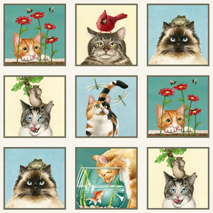 Curious Cats Kittens 23 Panel 15 Square Blocks Cream Elizabeths Studio #3327 - Quilting & Sewing Fabric