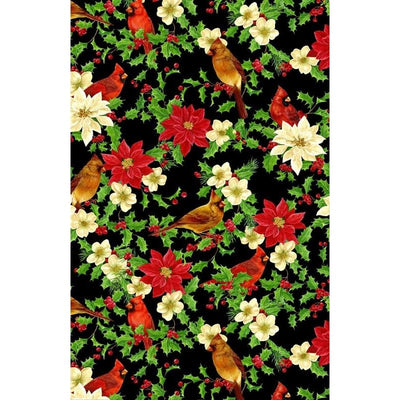 Deck the Halls Cardinal Birds & Poinsettias Wilmington Prints #2934 - Quilting & Sewing Fabric