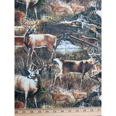 Deer at the Barn Wildlife Animals Digital Print Four Seasons #5717 - Quilting & Sewing Fabric