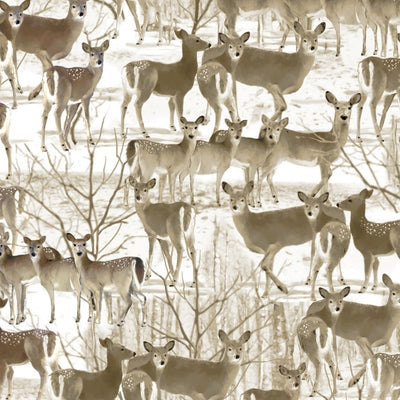 Deer & Trees Wildlife Outdoors Natural Benartex #4707 - Quilting & Sewing Fabric