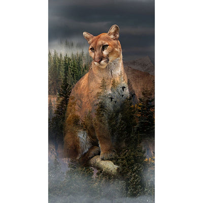 Digital Call of the Wild Mountain Lions & Nature Scenic Hoffman 23 Panel #7778 - Quilting & Sewing Fabric