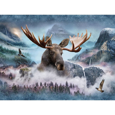 Digital Call of the Wild Waterfall Moose Scenic Hoffman 34 Panel #7781 - Quilting & Sewing Fabric
