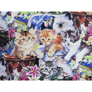 Digital Gardening Buddies Multi Breed Kittens Four Seasons #6864 - Quilting & Sewing Fabric