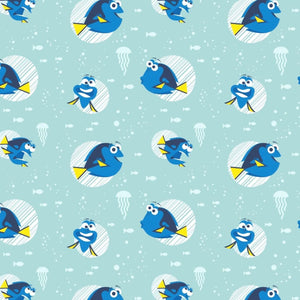 Disney Aqua Finding Dory Faces Camelot Cotton Fabric #5697 - Quilting & Sewing Fabric