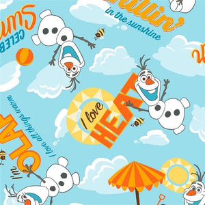 Disney Frozen Olaf Summer Heat Allover Blue #3076 - Quilting & Sewing Fabric