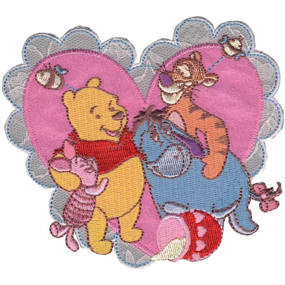 Disney Winnie The Pooh Iron-On Applique Pooh and Friends Hearts #6736 - Sewing Notions