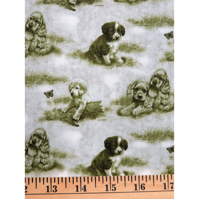 Dog Days Green Tonal Multi Puppies Spectrix #1354 - Quilting & Sewing Fabric