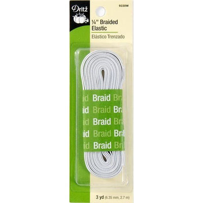 Dritz 9330W White Braided Elastic 1/4in x 3yds #4419 - Sewing Notions