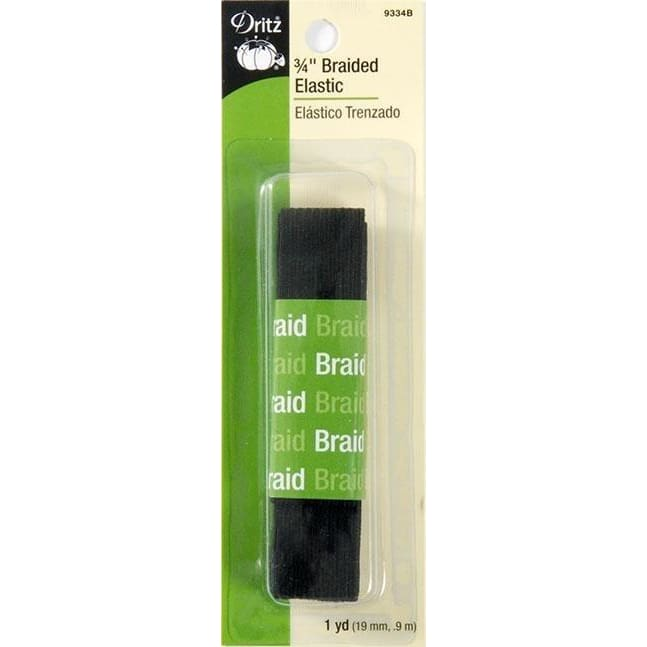 DRITZ 9334B BLACK BRAIDED ELASTIC 3/4in x 1yd #4421 - Sewing Notions