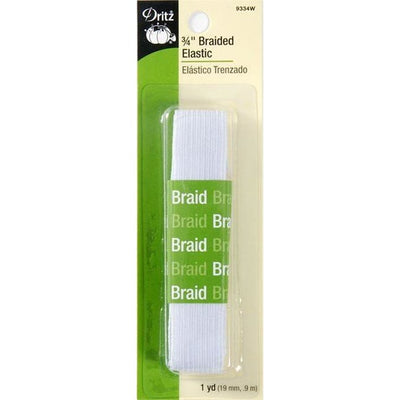 DRITZ 9334W WHITE BRAIDED ELASTIC 3/4in x 1yd #4422 - Sewing Notions