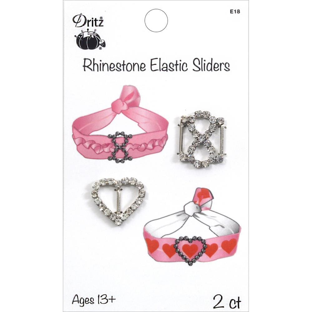 Dritz Rhinestone Elastic Sliders Heart & Infinity (2-pack) #5968 - Sewing Notions