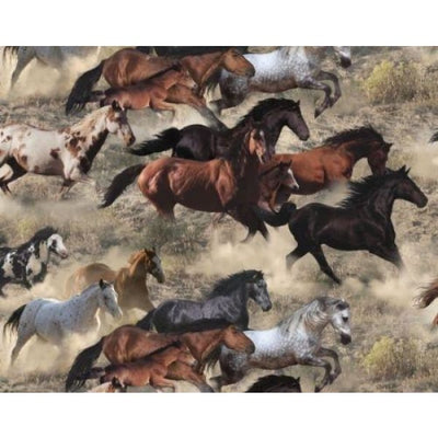 Earth Wild Horses Running Elizabeths Studio #3407 - Quilting & Sewing Fabric
