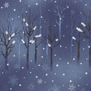 Elite Snowflake Wonderland Blue Tree Silhouette Metallic Maywood Studios #6238 - Quilting & Sewing Fabric