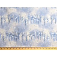Elite Snowflake Wonderland Blue Tree Silhouette W/ Metallic Maywood Studios #6237 - Quilting & Sewing Fabric