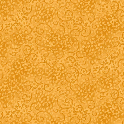 Essentials Leafy Scroll Gold Tonal Wilmington Print Fabric #5297 - Quilting & Sewing Fabric