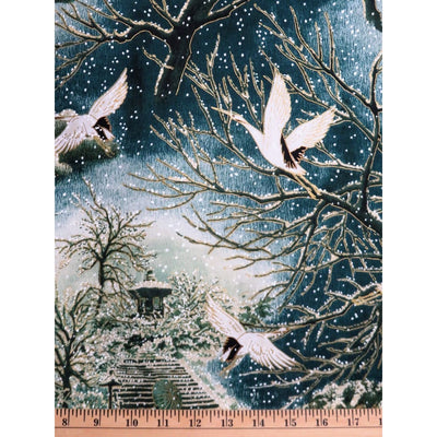 Evergreen Trees & Cranes Asian Snow Festival w/ Metallic Hoffman #2391 - Quilting & Sewing Fabric