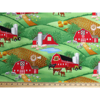 Farm Scenic w/ Barn & Farm Animals Green Timeless Treasures #2875 - Quilting & Sewing Fabric