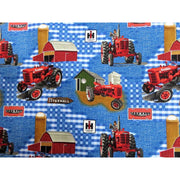 Farmall Tractor Blue Barn & Tractor Scenic Burlap Print Concept #4654 - Quilting & Sewing Fabric