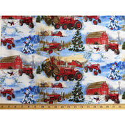 Farmall Tractors Winter Snowman Scenic Print Concepts Inc. #6860 - Quilting & Sewing Fabric