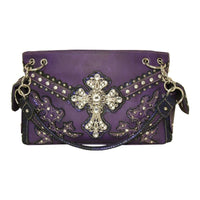 Fashion Conceal Carry Purse with Cross Purple - Purses