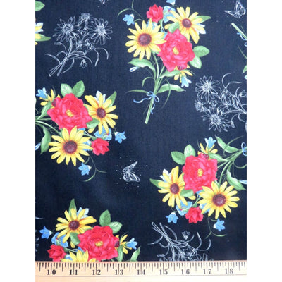 Floral Etchings Boquet Butterflies Black Quilting Treasures #3087 - Quilting & Sewing Fabric