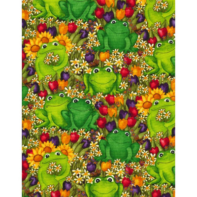 Frogs with Tulips Daisies & Sunflowers Timeless Treasures #7623 - Quilting & Sewing Fabric
